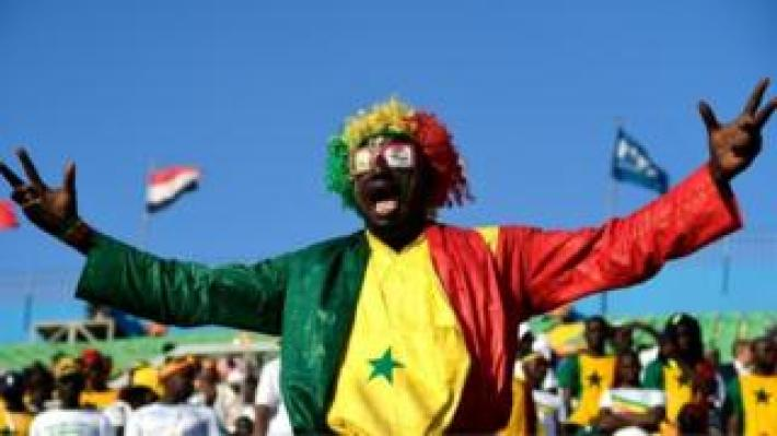 A Senegal supporter cheers during the 2019 Africa Cup of Nations (CAN) quarter final football match between Senegal and Benin at the 30 June stadium in Cairo on July 9, 2019