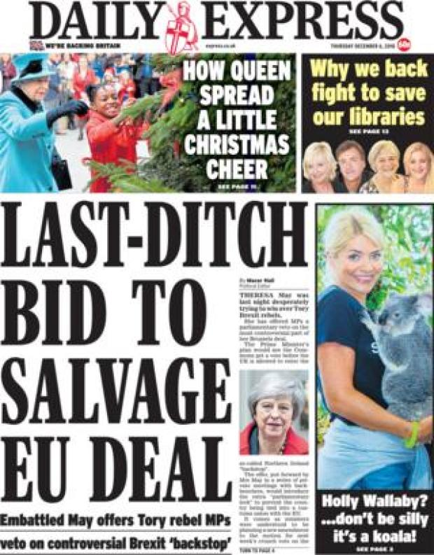 Daily Express front page, 6/12/18