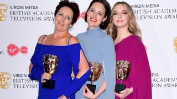 Fiona Shaw, Phoebe Waller Bridge and Jodie Comer