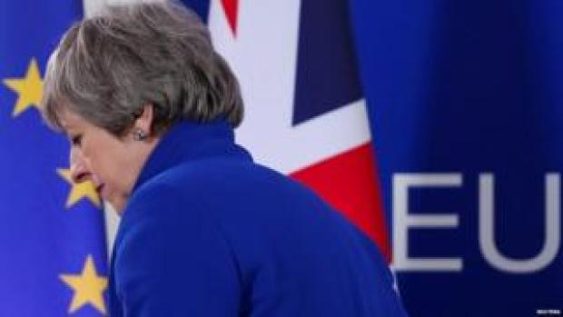 Theresa May giving press conference following the last European Council summit