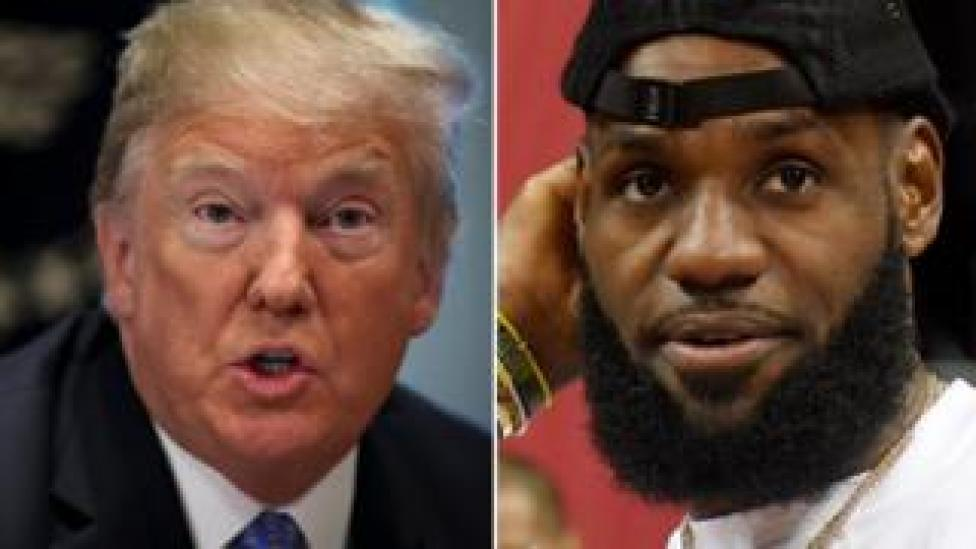 Donald Trump (L) and Lebron James (R)