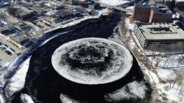 Drone picture of spinning ice disk