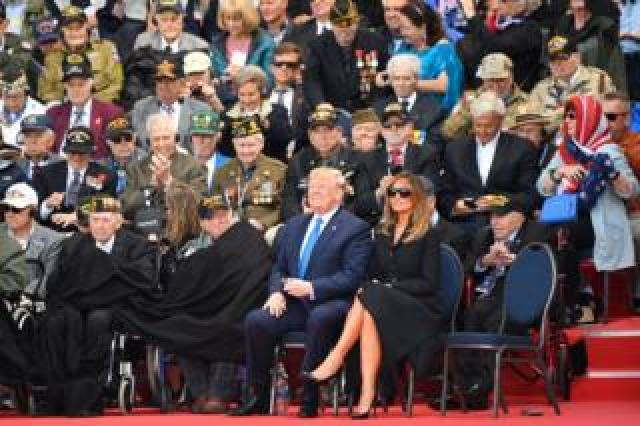 President Trump and First Lady Melania Trump in Colleville-sur-Mer in Normandy