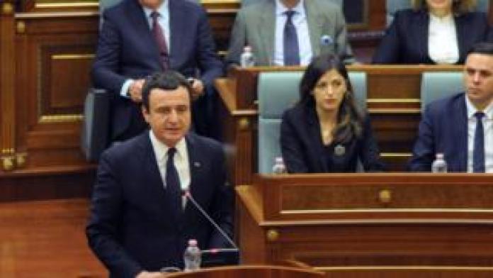 Prime Minister of Kosovo Albin Kurti delivers a speech during a parliament session in Pristina, Kosovo February 3, 2020.