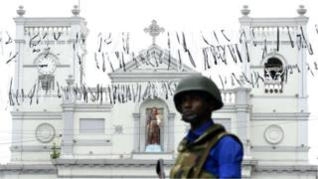 A Sri Lankan soldier stands guard outside St Anthony's Shrine in Colombo