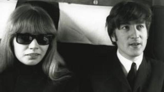 Image shows Astrid Kirchherr and John Lennon in 1964