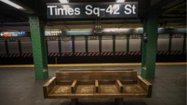 New York City subway is seen nearly empty due to coronavirus (Covid-19) pandemic on March 16, 2020 in New York, United States