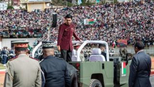 President of the Republic of Madagascar Andry Rajoelina during the celebration of the 59th anniversary of Madagascar's independence
