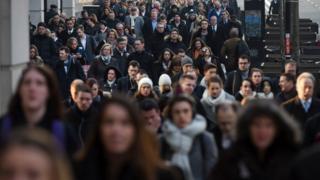 People walking to work along London Bridge