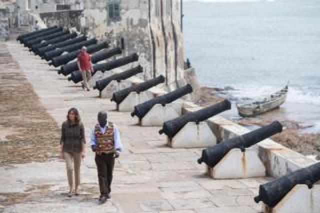 US First Lady Melania Trump with Kwesi Essel-Blankson, Museum Educator, at the Cape Coast Castle, a former slave trading fort, in Cape Coast, on October 3, 2018, during the second day of her week-long trip to Africa to promote her 'Be Best' campaign.