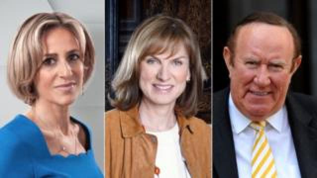 Emily Maitlis (l) will chair a debate, Fiona Bruce will host a special Question Time and Andrew Neil will interview the final two candidates