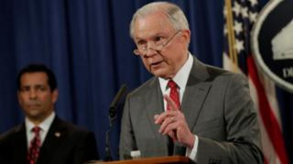 US Attorney General Jeff Sessions speaks at a briefing on leaks of classified material