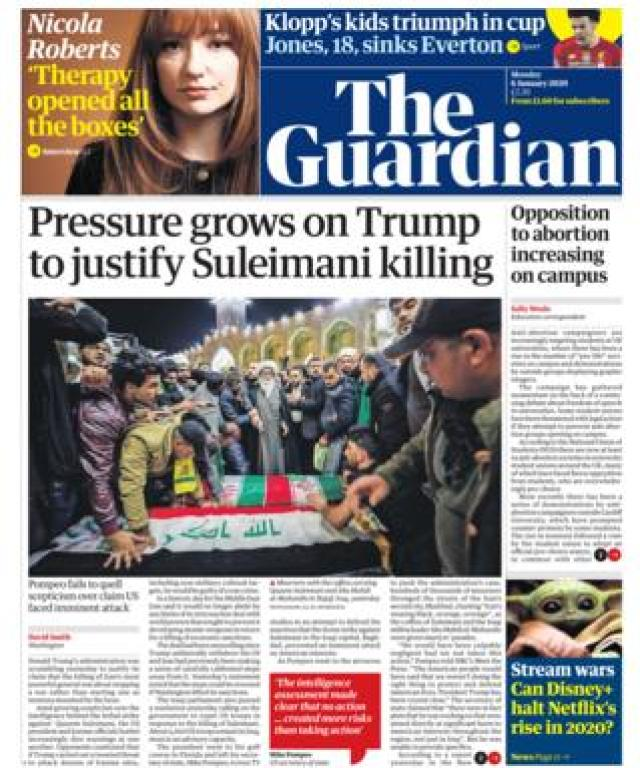 Guardian front page 6 January 2020