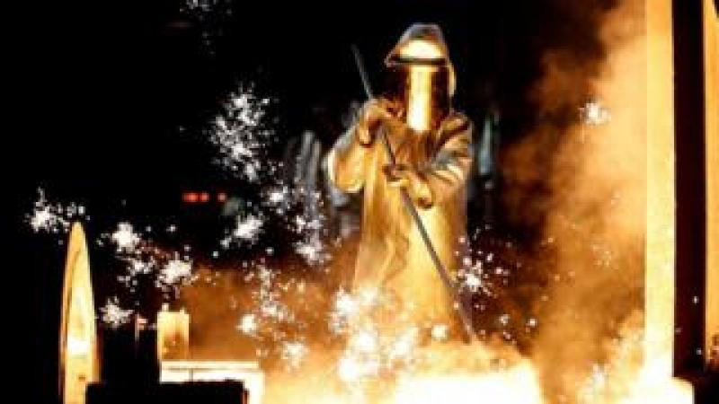 A steel worker at ThyssenKrupp in Duisburg, Germany