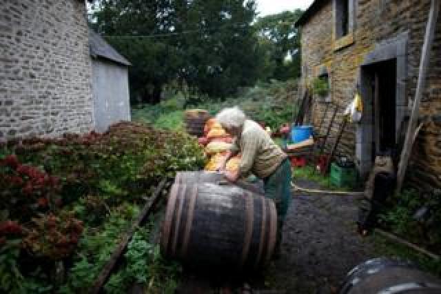 Jean-Bernard tends to barrels of cider