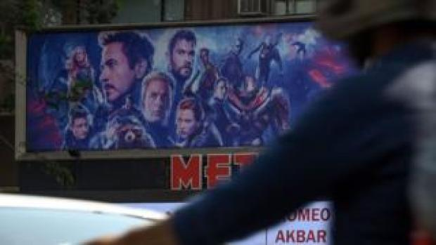 A poster for Avengers: Endgame is seen in Mumbai