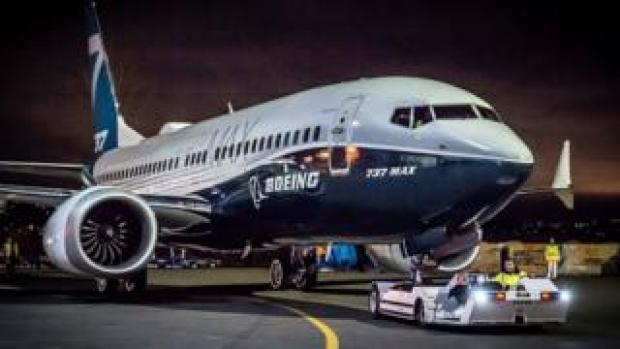 A Boeing 737 Max being towed