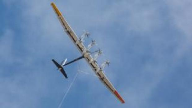 The tethered kite soars high in circles generating electricity