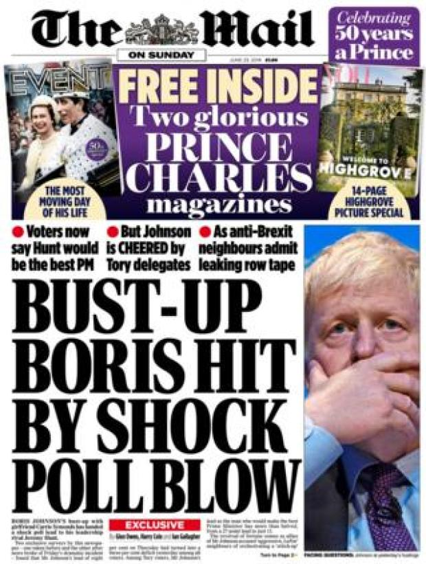 Mail on Sunday front page 23.06.19
