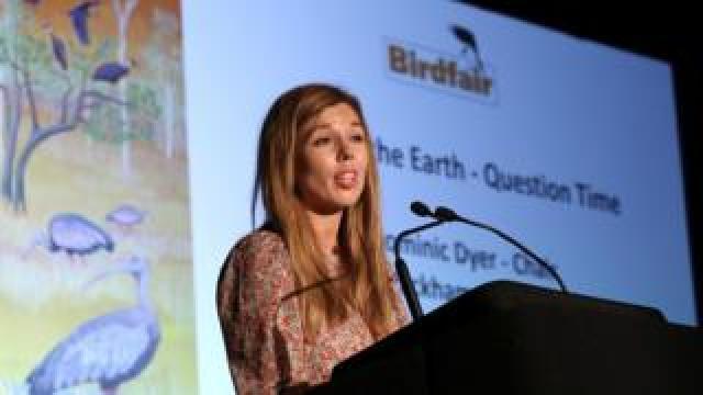 Carrie Symonds speaks at Birdfair