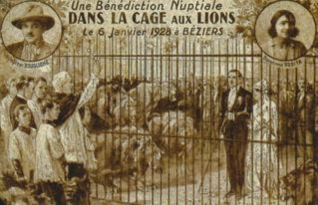 Rosa and Joseph Bouglione getting married in a lion's cage