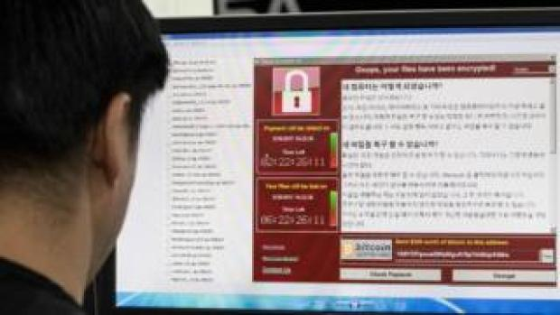 South Korean man monitoring ransomware