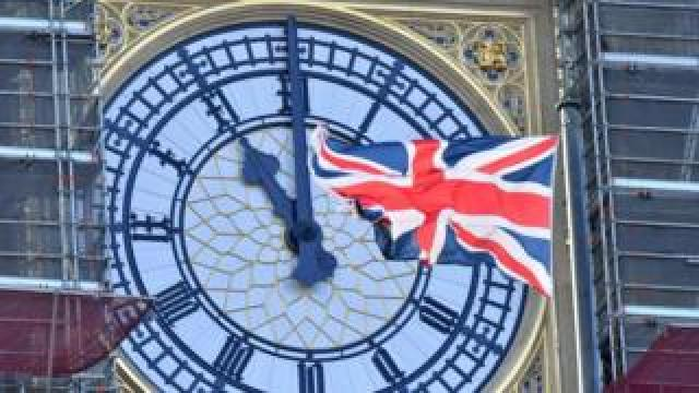 Big Ben clock face showing 11 o'clock
