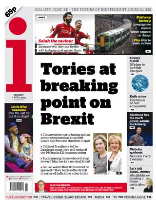 Monday's The i front page