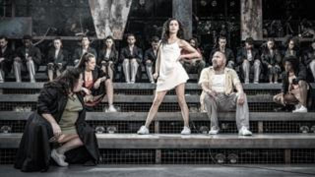 Samantha Pauly with other cast members in Evita