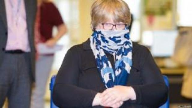 Therese Coffey wears a face covering during a visit to a job centre earlier this month