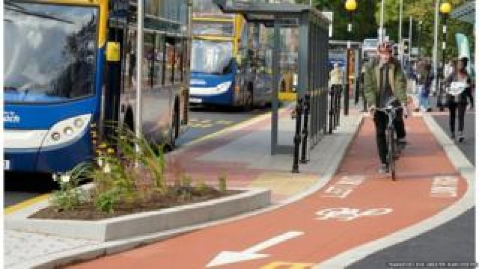 Bus and cycle lanes in Manchester