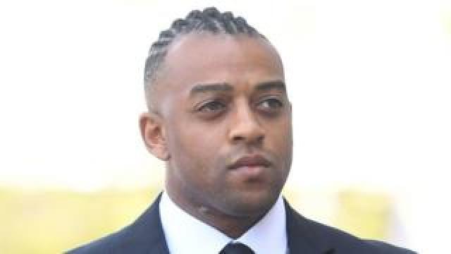 Former JLS star Oritse Williams arrives at Wolverhampton Crown Court on 14 May
