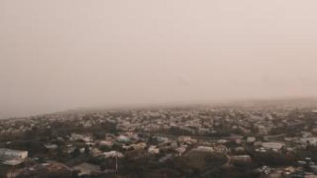 Dust from the Sahara desert floats over the city of Bridgetown, Barbados, on June 22, 2020, in this image taken from social media.