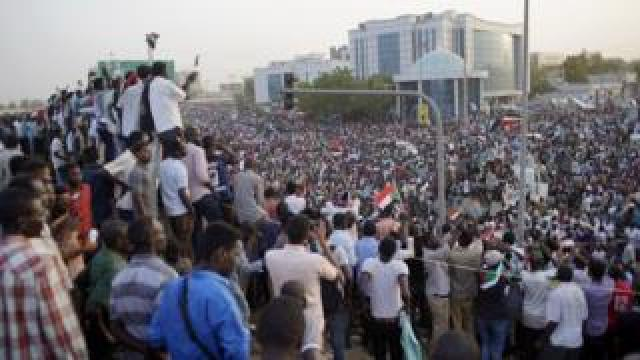 Protesters in the capital Khartoum on April 11, 2019