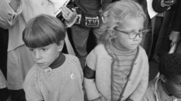 Two children at rally in New York