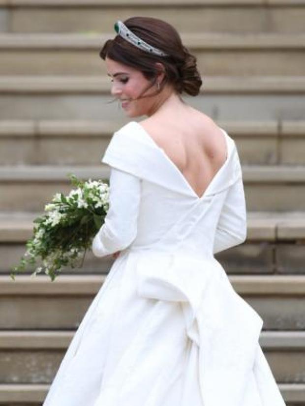 Princess Eugenie of York arrives for her royal wedding ceremony