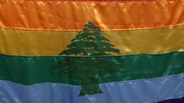 Gay pride flag with a cedar of Lebanon used by activists at a rally in Beirut on 30 April 2013