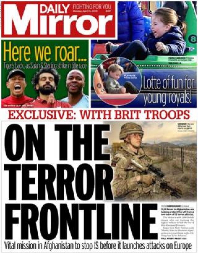 Daily Mirror front page, 15/4/19