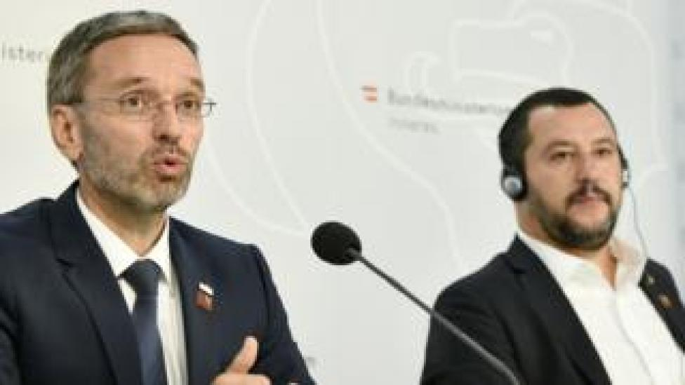 NEWS Italy's Interior Minister Matteo Salvini (R) and his Austrian counterpart Herbert Kickl at a press conference in Vienna, September 14, 2018
