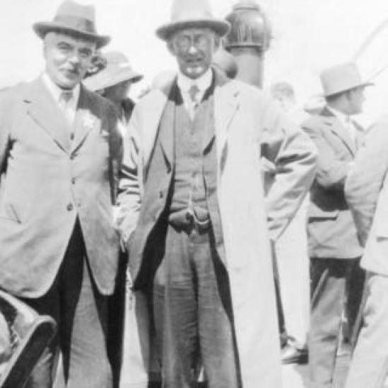 Frank Watson Dyson (left) and Arthur Stanley Eddington. Date unknown