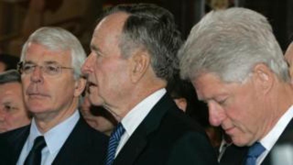 trump John Major (L), George HW Bush (C) and Bill Clinton at Boris Yeltsin's funeral in April 2007