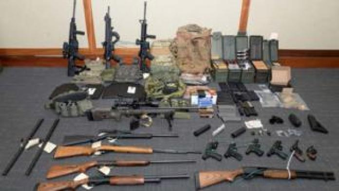 Nation breaking news A cache of guns and ammunition uncovered by US federal investigators in the home of Coast Guard lieutenant Christopher Paul Hasson in Silver Spring, Maryland. on February 20, 2019