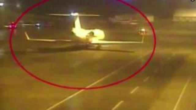 Still from Turkish TV of aircraft purported to be involved in the disappearance of Saudi journalist Jamal Khashoggi, 10 October 2018