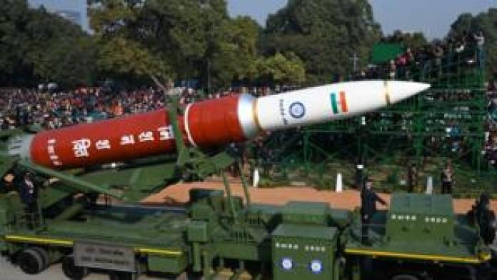A DRDO anti-satellite weapon from Mission Shakti is marched along Rajpath during the Republic Day parade in New Delhi on 26 January 2020.