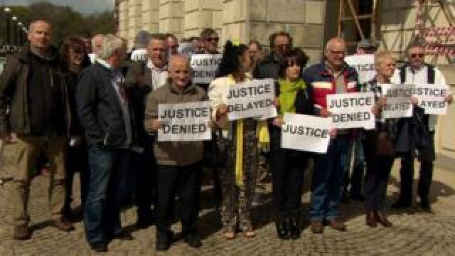 Stormont protest by historical institutional abuse victims in April 2017