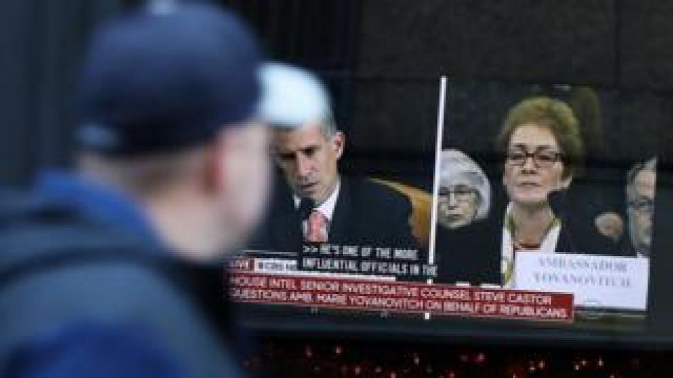 trump TV screens showing hearing