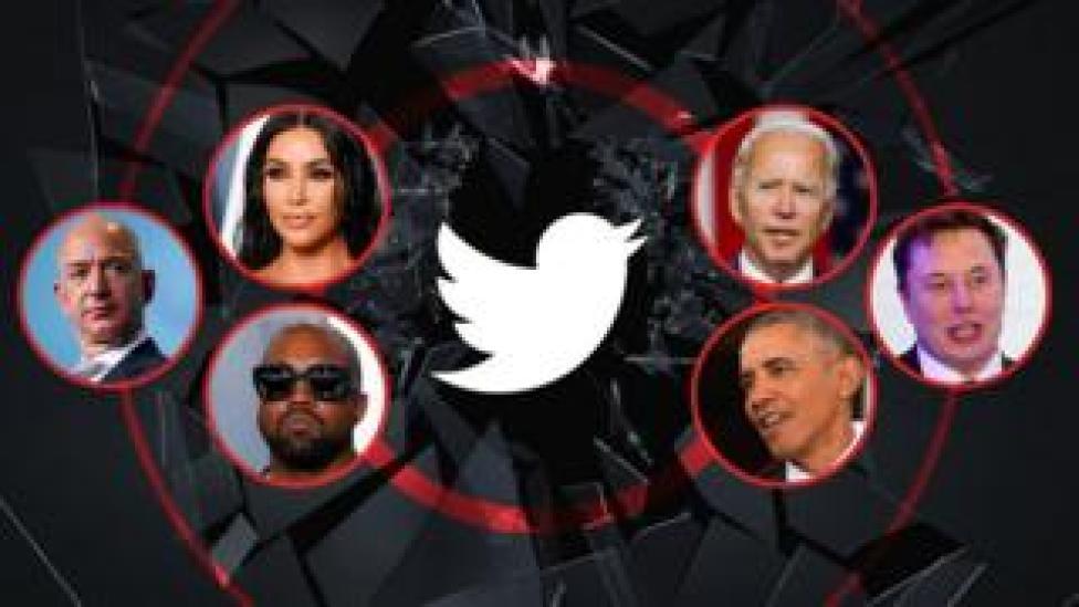trump A photo illustration shows a range of celebrities - Kim Kardashian, Joe Biden, Elon Musk, Barack Obama, Kanye West, and Jeff Bezos - arrayed around a shattered glass image with the Twitter logo at its cetnre