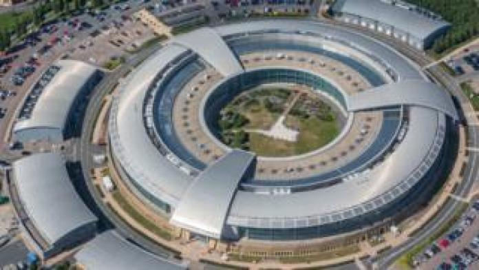 An aerial view of the GCHQ in Cheltenham, with its distinctive donut shape