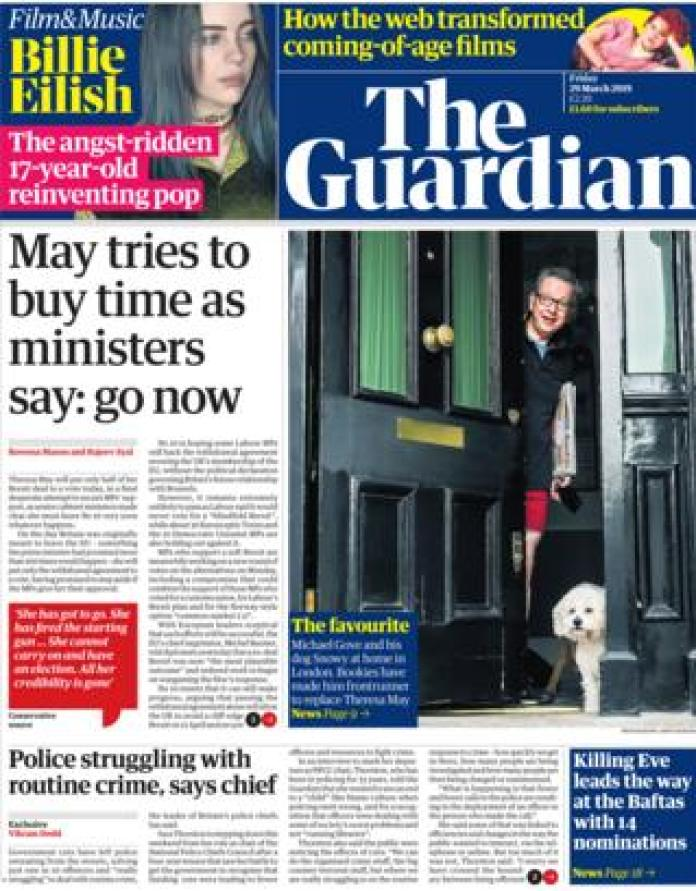 The Guardian front page, 29/3/19