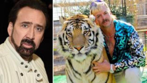 Nicolas Cage (left) and Joe Exotic in Tiger King